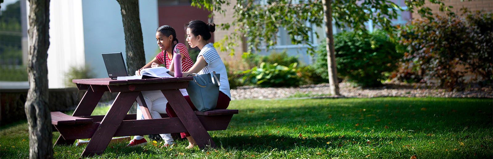 Students sitting at picnic table on campus.