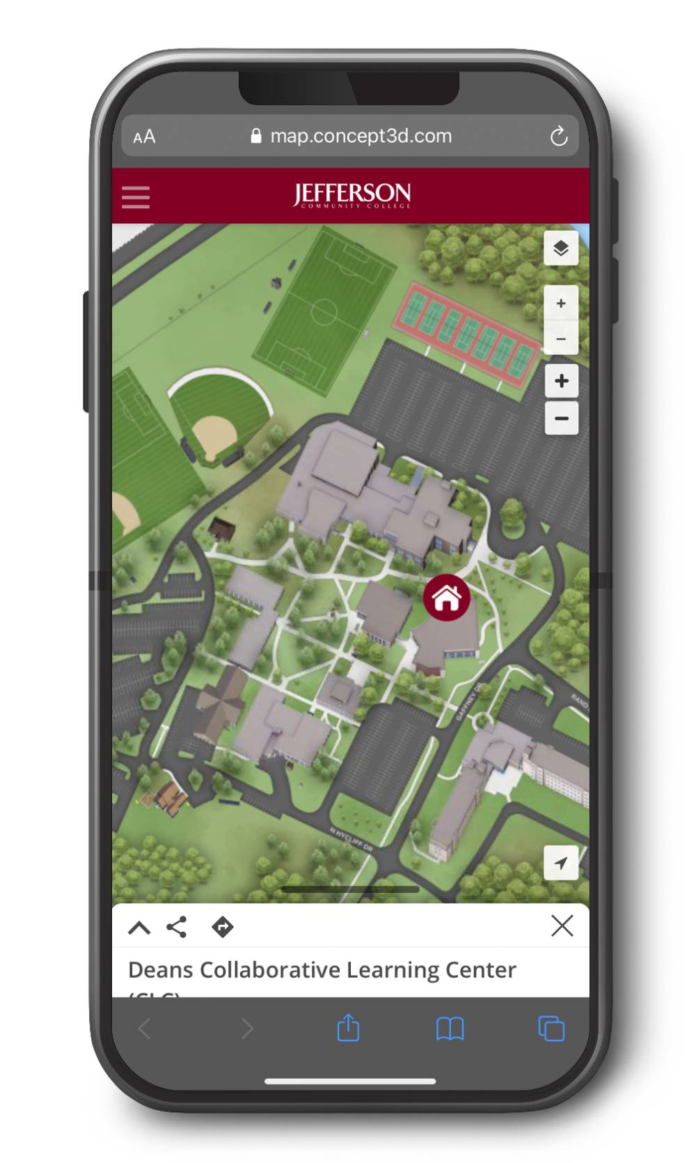 campus map on smart phone; link to campus map
