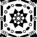 Geometrical sun design with eight-pointed star at center. Smaller eight-pointed stars and a variety of geometrical shapes encircle the largest star.