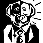 A dog wearing a suit jacket and tie, with frontal view of dog's face half in dark and half in light. The background is also half in darkness and half in radiant light.