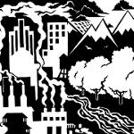 City with smoke-stacked buildings juxtaposed with mountain, tree, and river landscape.
