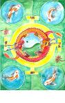 This watercolor piece has a yin yang in the middle that represents the good and the bad, the light and the dark. The red and orange dragons represent the mystical powers of the world. Both are wrapped around the yin yang as protectors of that balance. The 4 golden gates to the outside of the dragons represent the gates of peace and tranquility. The koi fish in the four corners represent harmony and the spider lilies represent beauty.
