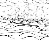 This work of art is depicting a boat, the Mayflower, in moderate waves and cloud coverage.