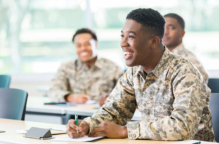 Military students in classroom