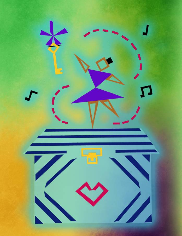 A girl atop a music box reaches for a key. Uses geometric shapes and has abstract look/feel to it