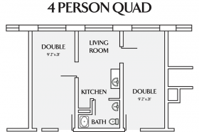 4 person quad floor plan