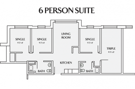 layout for 6 person suite with one triple room
