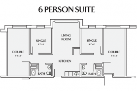 drawing of 6 person suite in East Hall